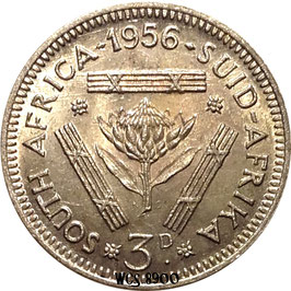 South Africa 3 Pence 1956 KM#47 XF