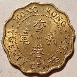 Hong Kong 20 Cents 1975-1983 KM#36