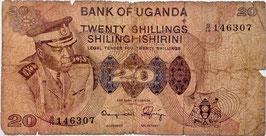 Uganda 20 Shillings 1973 P.7b G