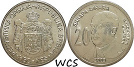 Serbia 20 Dinara 2009 KM#52 UNC - 130th Anniversary of BIrth of Milutin Milankovic