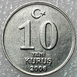 Turkey 10 New Kurus 2005-2008 KM#1166