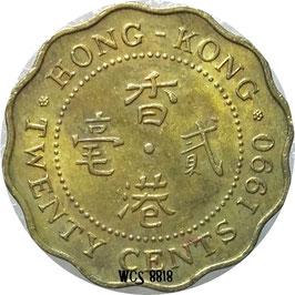 Hong Kong 20 Cents 1985-1991 KM#59