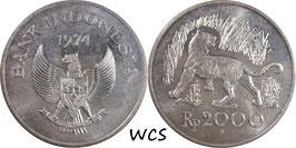 Indonesia 2000 Rupiah 1974 KM#39 UNC- - Javan Tiger