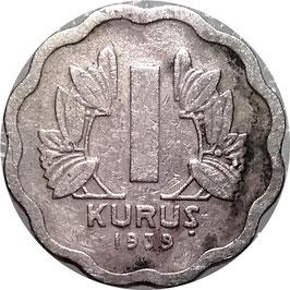 Turkey 1 Kurus 1939 KM#867 F