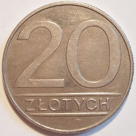 Poland 20 Zlotych 1984-1988 (large type) Y#153.1