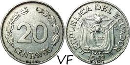 Ecuador 20 Centavos 1959-1972 KM#77.1c