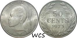 Liberia 50 Cents 1973 KM#17a.2 XF