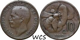 Italy 10 Centesimi 1920 KM#60 F+