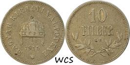 Hungary 10 Filler 1914-1916 KM#494 Variante: 1915 - VF