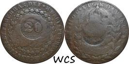 Brazil 20 Reis 1824 R countermarked KM#436.1 VG