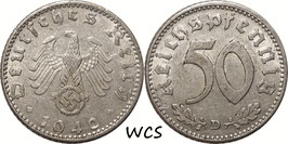 Germany - Third Reich 50 Reichspfennig 1940 D KM#96 VF