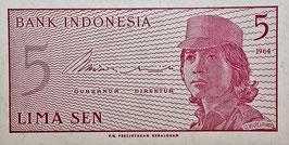 Indonesia 5 Sen 1964 P.91a UNC