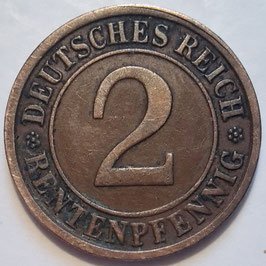 Germany - Weimar Republic 2 Rentenpfennig 1923-1924 KM#31