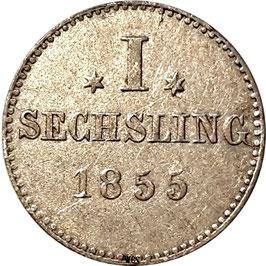 Hamburg 1 Sechsling (6 Pfennig) 1855 KM#585 XF