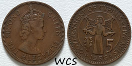 Cyprus 5 Mils 1955-1956 KM#34