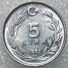 Turkey 5 Lira 1983 KM#949.2 XF