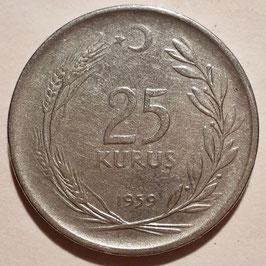 Turkey 25 Kurus 1959 KM#892.1 VF