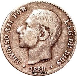 Spain 50 Centimos 1880 KM#685 F