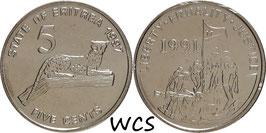 Eritrea 5 Cents 1997 KM#44 UNC