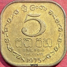 Sri Lanka 5 Cents 1975 KM#139