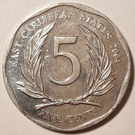 East Caribbean States 5 Cents 2002-2019 KM#36