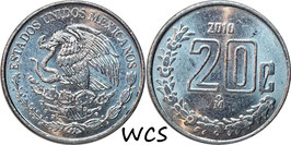 Mexico 20 Centavos 2009-2017 KM#935