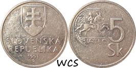 Slovakia 5 Korun 1993-2008 KM#14