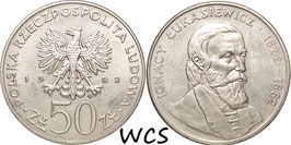 Poland 50 Zlotych 1983 MW - Polish Explorers and Scientist - Ignacy Łukasiewicz Y#146 XF