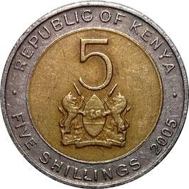 Kenya 5 Shillings 2005-2010 KM#37.1