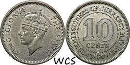 Malaya 10 Cents 1950 KM#8 VF (1)