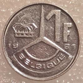 Belgium 1 Franc 1989-1993 BELGIQUE KM#170