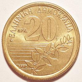 Greece 20 Drachmes 1990-2000 KM#154 XF