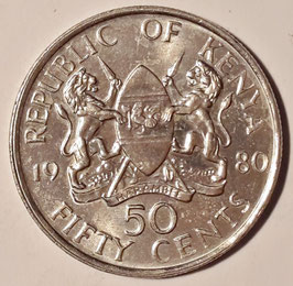 Kenya 50 Cents 1978-1989 KM#19