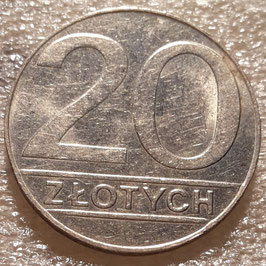 Poland 20 Zlotych 1989-1990 (small type) Y#153.2