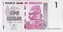 Zimbabwe 1 Dollar 2007 P.65 UNC
