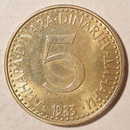 Yugoslavia 5 Dinara 1982-1986 KM#88