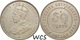 Straits Settlements 50 Cents 1920 KM#35.1 XF