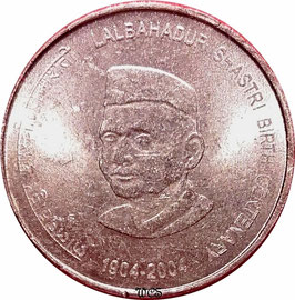 India 5 Rupees 2004 (Calcutta) - 100th Anniversary - Birth of Lal Bahadur Shastri KM#329a VF