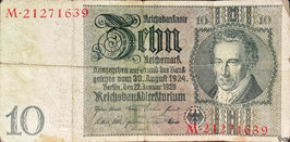 Germany 10 Reichsmark 22.01.1929 (1941/42) Ro 173b Underprint/Series E/M