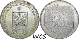 Poland 200 Zlotych 1974 Y#72 VF - 30th Anniversary of People's Republic of Poland