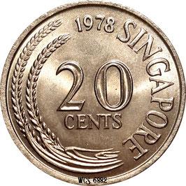 Singapore 20 Cents 1967-1984 KM#4