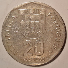 Portugal 20 Escudos 1986-1997 KM#634.1