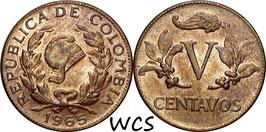 Colombia 5 Centavos 1965 KM#206 UNC-