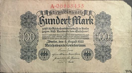 Germany 100 Mark 04.08.1922 Ro 72 Series A