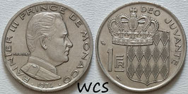 Monaco 1 Franc 1974 KM#140 XF-