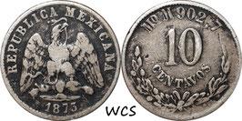 Mexico 10 Centavos 1873 Mo M KM#403.7 F