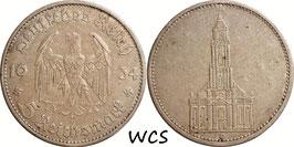 Germany - Third Reich 5 Reichsmark 1934 D KM#83 VF- - 1st Anniversary of Nazi Rule - Potsdam Garrison Church