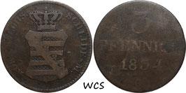 Saxony 3 Pfennige 1834 G KM#1134 G+
