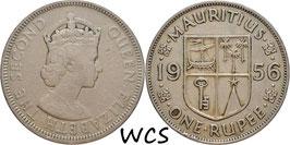 Mauritius 1 Rupee 1956 KM#35.1 F+