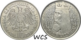 Poland 10 Zlotych 1964 - 600th Anniversary - Jagiello University (Legends raised) Y#52.1 XF+